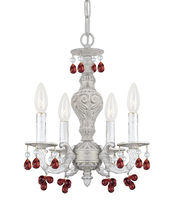 Crystorama 5224-AW-AMBER - Crystorama Paris Market 4 Light Antique White Mini Chandelier