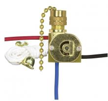 Satco Products Inc. 90/2260 - 3 Way Canopy Switch, 2 Circuit, 4 Position w/Metal Chain,White Cord & Bell - Rated: 6A-125V, 3A-250V
