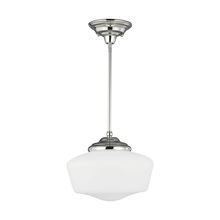 Sea Gull 65438BLE-05 - Fluorescent Academy Large One Light Pendant in Chrome with Satin White Schoolhouse Glass