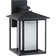 Sea Gull 89031BLE-12 - Fluorescent Hunnington One Light Large Outdoor Wall Lantern in Black with Seeded Etched Glass