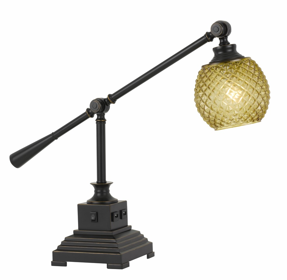 60W Brandon Metal Desk Lamp With Glass Shade And 2 USB Outlets
