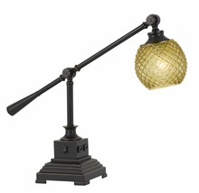 CAL Lighting BO-2777DK - 60W Brandon Metal Desk Lamp With Glass Shade And 2 USB Outlets