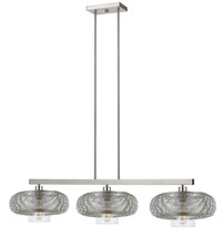 "CAL Lighting FX-3613-3 - 34.25"" Inch Tall Metal And Glass Pendant In Brushed Steel Finish"