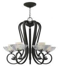Fredrick Ramond FR40605BKS - Five Light Blacksmith Faux Mercury With Etched Opal Inner Glass Up Chandelier